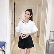 Mujer Casual Diario Casual Verano T-Shirt Pantalón Trajes,Escote en Pico Un Color Manga Corta Lazo Inelástica