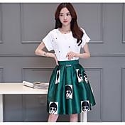 レディース パーティー 夏 Tシャツ(21) スカート スーツ,シンプル ラウンドネック プリント 半袖 マイクロエラスティック