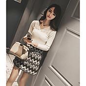 Mujer Regular Pullover Diario Simple,Un Color Escote en Pico Manga Larga Piel Sintética Primavera Fino Microelástico