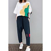 Mujer Casual/Diario Verano T-Shirt Pantalón Trajes,Escote Redondo Bloques Media Manga