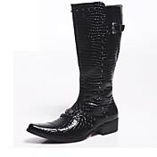 Hombre Zapatos Cuero Patentado Otoño Invierno Botas de Moda Botas de Moto Botas Mitad de Gemelo Para Casual Fiesta y Noche Negro Rojo