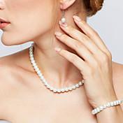 Mujer Juego de Joyas Collar / pendientes Strands Collares Elegant Nupcial joyería de disfraz Perla Forma de Círculo Pendientes Collar