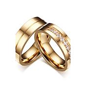 カップル用 カップルリング キュービックジルコニア シンプルなスタイル クラシック Elegant キュービックジルコニア チタン鋼 円形 ジュエリー 用途 結婚式 パーティー 婚約 式典