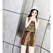 レディース シンプル ハイライズ ワイドレッグ カジュアル/普段着 ロンパース 混色 ファッション 夏