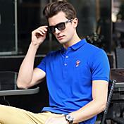 メンズ カジュアル/普段着 ワーク プラスサイズ 夏 Polo,シンプル シャツカラー ソリッド コットン スパンデックス 半袖 ミディアム