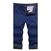 Hombre Sencillo Tiro Medio Inelástica Culotte Chinos Pantalones,Corte Recto Un Color Azulejo Color puro