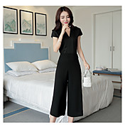 Mujer Moderno Simple Casual Noche Casual/Diario Trabajo Primavera Verano Camisas Pantalón Trajes,Escote en Pico Un Color Con Texturas Sexy