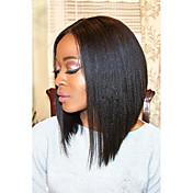 Mujer Pelucas de Cabello Natural Cabello humano Encaje Frontal Frontal sin Pegamento 130% 150% Densidad Liso Peluca Negro Corto Medio