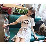 レディース お出かけ 夏 Tシャツ(21) スカート スーツ,カジュアル ラウンドネック ソリッド ストライプ メッセージ 半袖 マイクロエラスティック