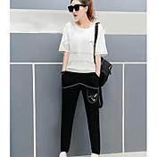 Mujer Casual Diario Casual Verano T-Shirt Pantalón Trajes,Escote Redondo Un Color Estampado Manga Corta Microelástico