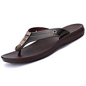 Hombre Zapatillas y flip-flop Mary Jane Suelas con luz Cuero Verano Casual Mary Jane Suelas con luz Tacón Plano Negro Marrón Plano