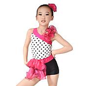 子供用ダンスウェア レオタード 女性用 子供用 演出 オーガンザ ライクラ フリル ノースリーブ ナチュラルウエスト