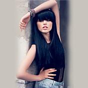 Romântico lindos cabelos longos pretos lisos cabelo humano perucas