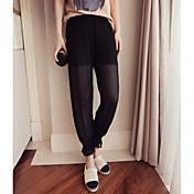 Mujer Sencillo Media cintura Microelástico Ajustado Pantalones,Pantalones Harén Un Color