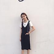 Mujer Empapa Diario Verano T-Shirt Falda Trajes,Escote Redondo Un Color
