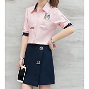 レディース カジュアル/普段着 春 シャツ スカート スーツ,現代風 シャツカラー プリント 半袖