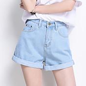 Mujer Sencillo Alta cintura strenchy Shorts Pantalones,Perneras anchas Un Color