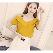 Mujer Simple Noche Casual/Diario Camiseta,Escote Redondo Un Color Manga Corta Algodón