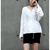 レディース カジュアル/普段着 シャツ,シンプル Vネック ソリッド コットン 長袖