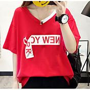Mujer Simple Casual/Diario Camiseta,Escote en Pico Un Color Estampado Manga 3/4 Algodón