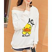 Mujer Simple Casual/Diario Camiseta,Escote en Pico Estampado Estampado Animal Letra Manga Larga Algodón Otro