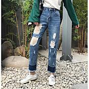 Mujer Sexy Tiro Alto Microelástico Chinos Pantalones,Corte Recto Un Color