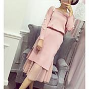Mujer Simple Casual/Diario Primavera Otoño T-Shirt Falda Trajes,Escote Redondo Un Color Manga Larga
