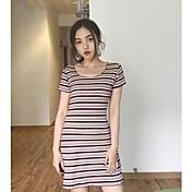 Mujer Corte Bodycon Vestido Casual/Diario A Rayas Escote Barco Midi Manga Corta Algodón Primavera Tiro Medio Microelástico Fino