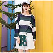 Mujer Regular Pullover Playa Bloques Escote Redondo Manga Larga Otro Primavera Verano Medio Microelástico