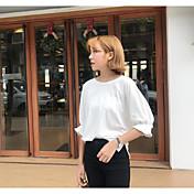 Mujer Simple Noche Camiseta,Escote Redondo Un Color Manga 3/4 Algodón