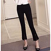 レディース ストリートファッション ミッドライズ ブーッカット マイクロエラスティック パンツ ソリッド