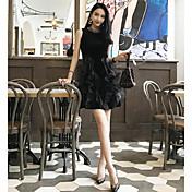Mujer Línea A Pequeño Negro Vestido Casual/Diario Un Color Escote Redondo Sobre la rodilla Sin Mangas Poliéster Verano Tiro Alto