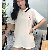 Mujer Simple Casual/Diario Camiseta,Cuello Camisero Estampado Letra Media Manga Algodón Otro