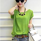 Mujer Simple Casual/Diario Camiseta,Escote Redondo Un Color Manga Corta Algodón Poliéster