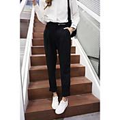 Mujer Sencillo Tiro Medio Inelástica Chinos Pantalones,Corte Recto Un Color