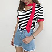 Mujer Simple Casual/Diario Camiseta,Escote en Pico A Rayas Manga Corta Algodón