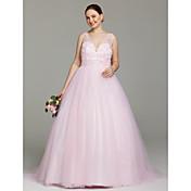 Salón Cuello en V Larga Tul Vestido de novia con Cuentas Detalles de Cristal por LAN TING BRIDE®