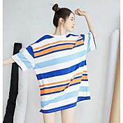 Mujer Corte Ancho Vestido Casual/Diario A Rayas Escote Redondo Sobre la rodilla Manga Corta Algodón Verano Tiro Medio Microelástico Fino