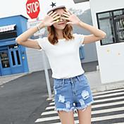 Mujer Sencillo Tiro Alto Microelástico Shorts Pantalones,Corte Ancho Un Color