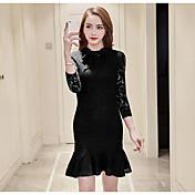 Mujer Vaina Vestido Noche Un Color Escote Redondo Sobre la rodilla Manga Larga Poliéster Primavera Tiro Medio Microelástico Fino