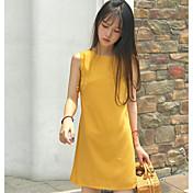 Mujer Vaina Vestido Noche Casual/Diario Un Color Escote Redondo Sobre la rodilla Sin Mangas Poliéster Verano Tiro Medio Microelástico Fino