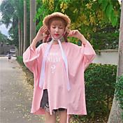 Mujer Simple Casual/Diario Camiseta,Escote Redondo Letra Manga 3/4 Algodón