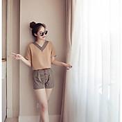 Mujer Simple Casual/Diario Verano T-Shirt Pantalón Trajes,Escote en Pico A Rayas Manga Corta