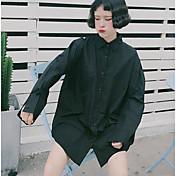Mujer Simple Casual/Diario Verano Camisa,Escote Chino Un Color Manga Larga Otro