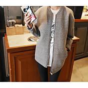 Mujer La chaqueta con capucha Casual/Diario Un Color Escote Redondo Microelástico Algodón Manga Larga Primavera