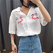 Mujer Simple Casual/Diario Camisa,Cuello Camisero Bordado Manga Larga Otro