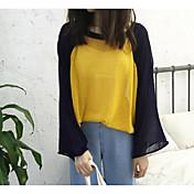 Mujer Regular Pullover Casual/Diario Bloques Escote Redondo Manga Larga Otro Otoño Medio Microelástico