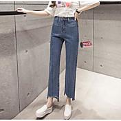 Mujer Sencillo Tiro Medio Microelástico Vaqueros Pantalones,Corte Recto Un Color
