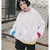 Mujer Simple Casual/Diario Verano Chaqueta,Con Capucha Un Color Estampado Manga Larga Algodón Regular