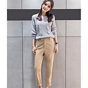 Mujer Sencillo Tiro Medio Inelástica Chinos Pantalones,Pantalones Harén Un Color
